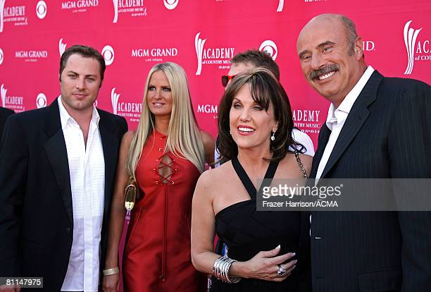 ACCESS*** Dr Phil's family son Jay McGraw Erica Dahm son Jordan McGraw wife Robin McGraw Dr Phil arrives at the 43rd annual Academy Of Country Music...