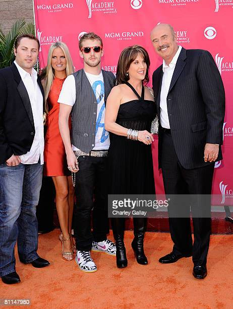 Dr Phil's family son Jay McGraw Erica Dahm son Jordan McGraw wife Robin McGraw Dr Phil arrive at the 43rd annual Academy Of Country Music Awards held...