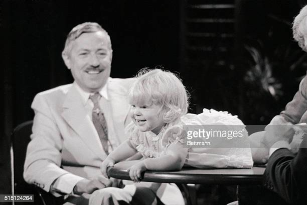 Dr Pierre Soupart who led the team responsible for the first invitro fertilization sits on The Phil Donahue Show with Louise Brown the oneyearold...
