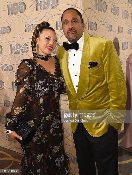 Dr Rainbow EdwardsBarris and producer Kenya Barris attend HBO's Official Golden Globe Awards After Party at Circa 55 Restaurant on January 8 2017 in...