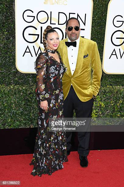 Dr Rainbow EdwardsBarris and producer Kenya Barris attend the 74th Annual Golden Globe Awards at The Beverly Hilton Hotel on January 8 2017 in...