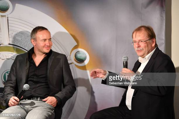 Dr Rainer Koch Vice President of DFB and Thorsten Fischer CEO of Flyeralarm talk during a Press Conference of the Allianz FrauenBundesliga at...