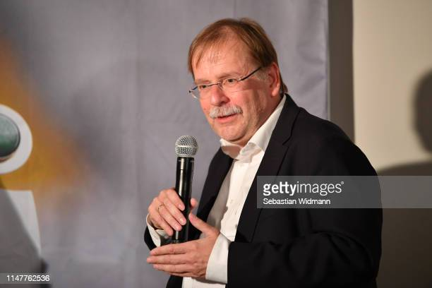 Dr Rainer Koch Vice President of DFB talks during a Press Conference of the Allianz FrauenBundesliga at FLYERALARM Lounge on May 08 2019 in Munich...
