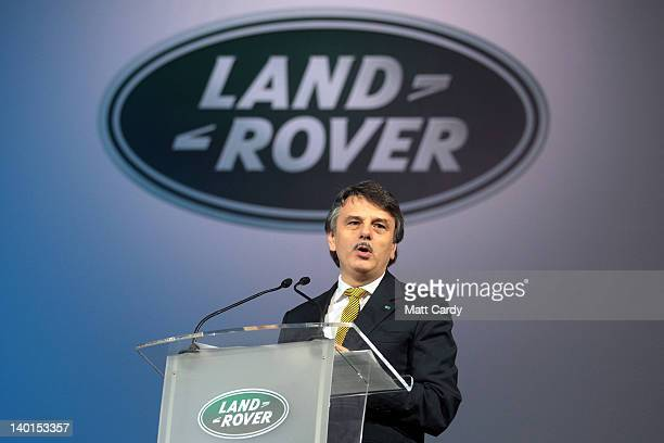 Dr Ralf Speth CEO at Jaguar Land Rover speaks to employees at a event to mark the 1000th Land Rover Discovery being built at the Jaguar Land Rover...