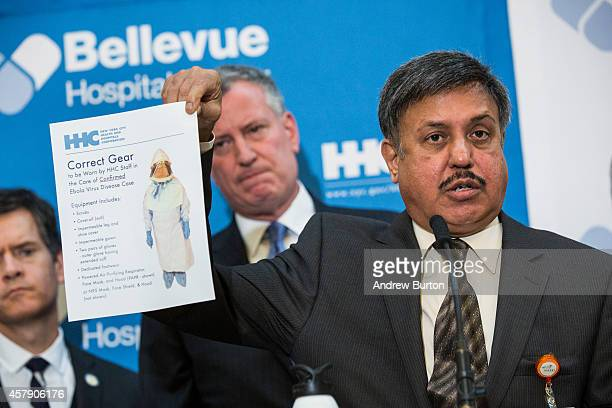 Dr Ramanathan Raju President and CEO of New York City Health and Hospitals Corporation speaks at a press conference at Bellvue Hospital regarding the...