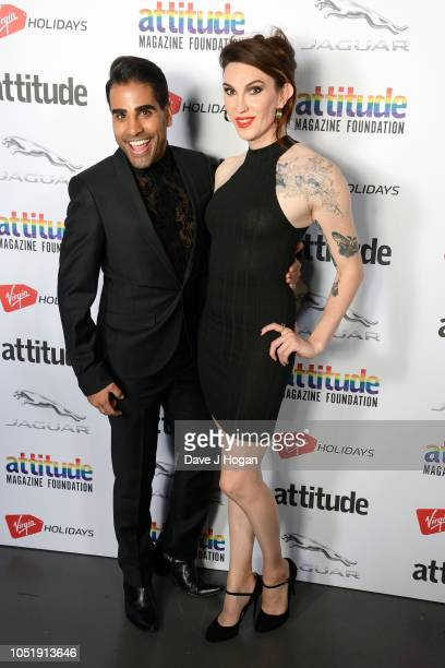 Dr Ranj Singh and Juno Dawson pose in the winner's room at The Virgin Holidays Attitude Awards at The Roundhouse on October 11 2018 in London England