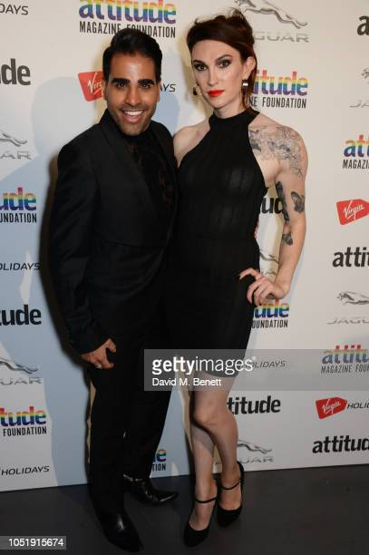 Dr Ranj Singh and Juno Dawson pose in the winners room at The Virgin Holidays Attitude Awards at The Roundhouse on October 11 2018 in London England