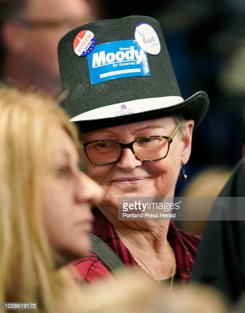 Dr Regina Marsters of Gorham sports a hat with a Moody for Governor sticker while gathered with other Moody supporters on Tuesday November 6 2018 at...