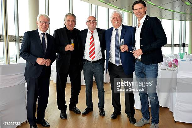 Dr Reinhard Rauball Bernd Gersdorf Horst Koeppel Wolfgang Fahrian and Thomas Brdaric attend the official reception for the United States Soccer...