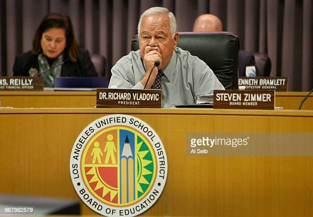 Dr Richard Vladovic LAUSD Board President listens as speakers talk during the Los Angeles Unified School District board meeting at the LAUSD...