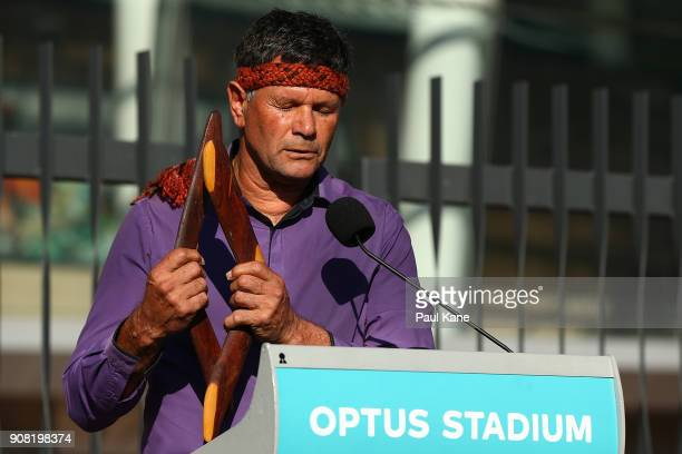 Dr Richard Walley performs the Welcome to Country to invited guests and members of the public before the official opening at Optus Stadium on January...