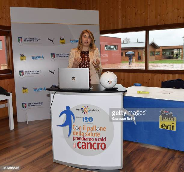 Dr Rita Chiari AIOM Umbria Oncology Perugia during press conference as the Italian Football Federation unveil the new training centre to celebrate...