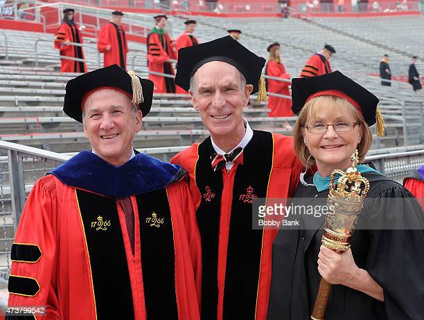 Dr. Robert Barchi, President of Rutgers The State University of New Jersey and William Sanford Nye attends 249th Anniversary Commencement Of Rutgers...