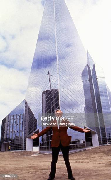 Dr Robert H Schuller poses outside of his newly constructed Crystal Cathedral in 1980 in Garden Grove California