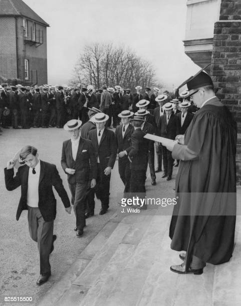 Dr Robert James headmaster of Harrow School performs the 'Talking the Bill' ceremony on Founder's Day UK 16th March 1963