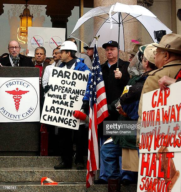 Dr Robert Ribolosi President of the Medical Society of New Jersey speaks at a rally at the New Jersey Capitol Complex February 4 2003 in Trenton New...