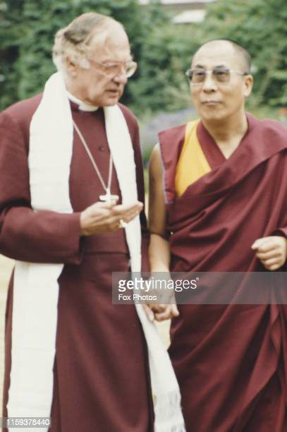 Dr Robert Runcie , the Archbishop of Canterbury, talks with the Dalai Lama at Lambeth Palace in London, 1984.