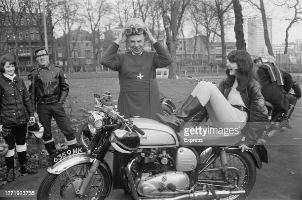 Dr Robert Stopford , the Bishop of London, prepares to ride a Triton motorcycle with Valerie Lewis, in a London park, 1965. His daughter Cally...