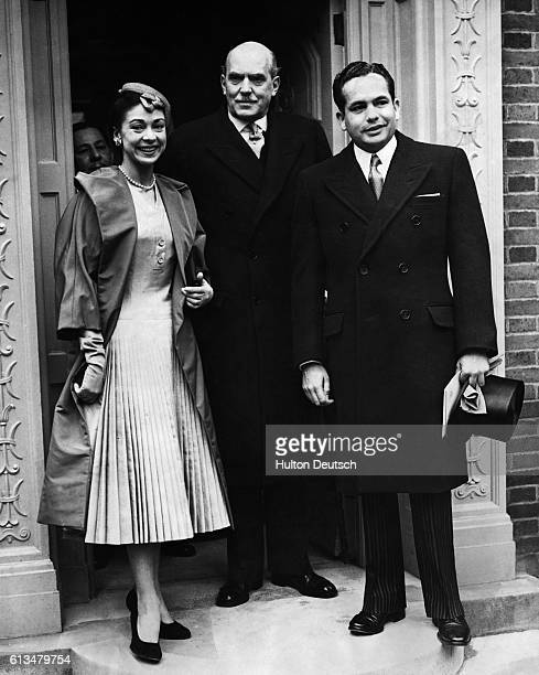 Dr Roberto Arias Panama's new ambassador to London leaves the embassy with his wife the ballerina Margot Fonteyn and the Marshal of the Diplomatic...