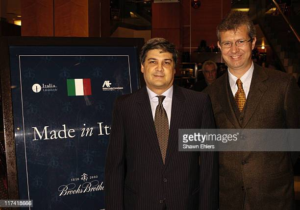 Dr. Roberto Luongo and Claudio Del Vecchio during Brooks Brothers and the Italian Trade Commission Host Made in Italy to Benefit American-Italian...