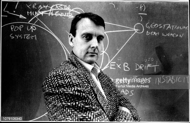 Dr Rod Boswell Lecturer in Physics at Canberras University drawing a sketch of the 'Star Wars' Theory and some of its possible problemsYes Virginia...