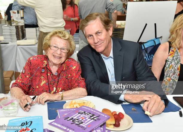 Dr. Ruth Westheimer and Chris Whipple attend Authors Night At East Hampton Library on August 11, 2018 in East Hampton, New York.
