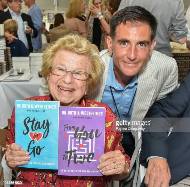 Dr. Ruth Westheimer and Dennis Fabiszak attend Authors Night At East Hampton Library on August 11, 2018 in East Hampton, New York.