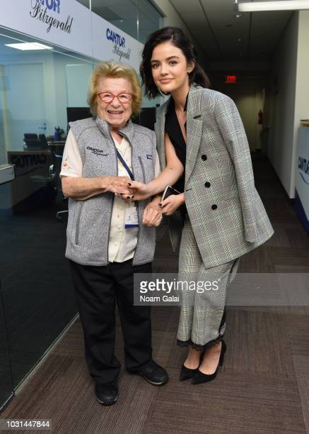 Dr Ruth Westheimer and Lucy Hale attend the Annual Charity Day hosted by Cantor Fitzgerald BGC and GFI at Cantor Fitzgerald on September 11 2018 in...