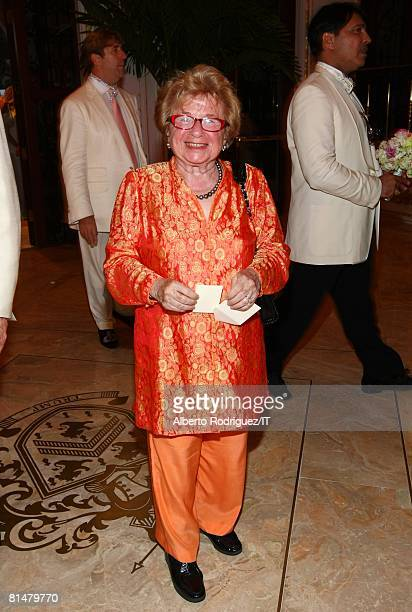 RATES Dr Ruth Westheimer attends the wedding of Ivana Trump and Rossano Rubicondi at the MaraLago Club on April 12 2008 in Palm Beach Florida