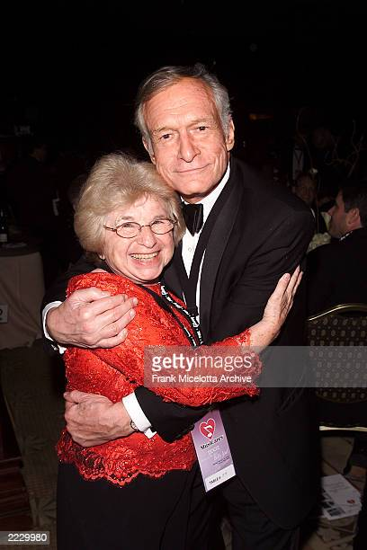 Dr. Ruth Westheimer hugs Hugh Hefner during the 12th Annual MusiCares Tribute honoring Billy Joel at the Century Plaza Hotel in Los Angeles, CA on...