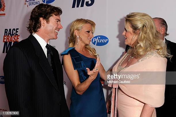 Dr. Rutledge Taylor, singer Deborah Gibson and Nancy Davis arrive at the 18th Annual Race to Erase MS event co-chaired by Nancy Davis and Tommy...