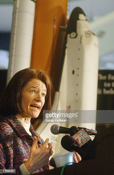 Dr Sally Ride the first US woman to travel into space speaks to the media at the San Diego Aerospace Museum February 7 2003 in San Diego California...