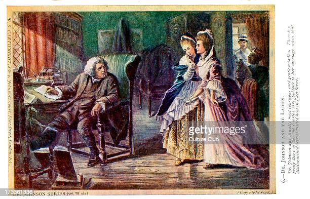 Dr Samuel Johnson receiving a visit from Mrs Siddons in Fleet Street. Captions reads: 'Dr Johnson was generally most courteous and gentle to...