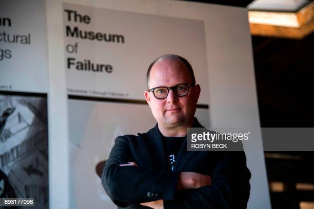 Dr Samuel West the curator of the Museum of Failure poses at The Museum of Failure in Los Angeles on December 7 2017 The Museum of Failure at the AD...