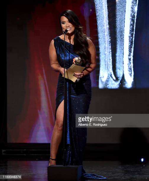 Dr Sandra Lee aka Dr Pimple Popper accepts Female Star of the Year award onstage during the Critics' Choice Real TV Awards at The Beverly Hilton...
