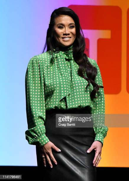 Dr Sandra Lee aka Dr Pimple Popper speaks onstage during Discovery Inc 2019 NYC Upfront at Alice Tully Hall on April 10 2019 in New York City