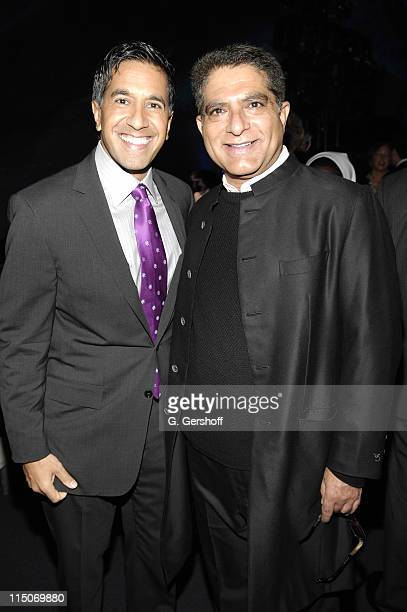 Dr Sanjay Gupta and Deepak Chopra during CNN Heroes An AllStar Tribute a live global broadcast honoring everyday heroes at the American Museum of...