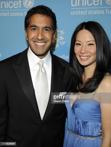Dr Sanjay Gupta and Lucy Liu attend the 2008 UNICEF Snowflake Ball at Cipriani 42nd Street on December 3 2008 in New York City