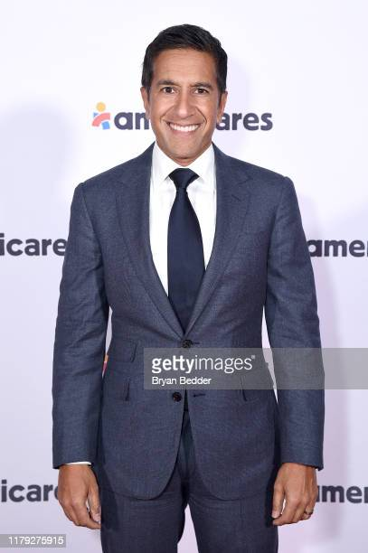 Dr Sanjay Gupta attends the 2019 Americares Airlift Benefit at JPMorgan Chase Hangar at Westchester County Airport on October 05 2019 in White Plains...