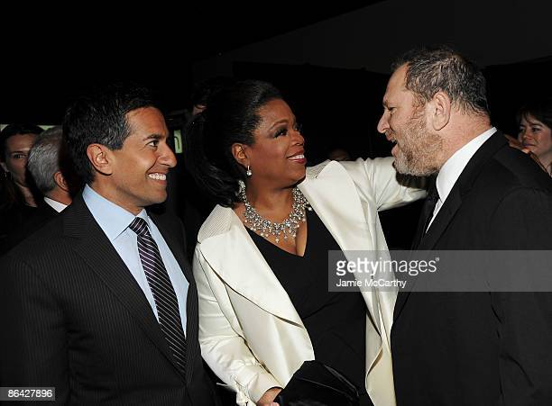 Dr Sanjay Gupta TV persoanlity Oprah Winfrey and producer Harvey Weinstein attend Time's 100 Most Influential People in the World Gala at the...