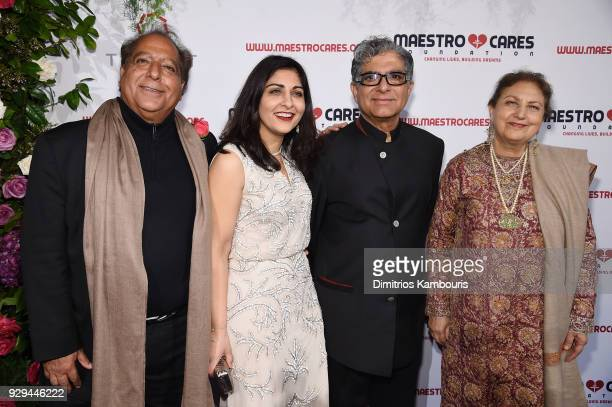 Dr Sanjiv Chopra guest Deepak Chopra and Dr Amita Chopra attend the Maestro Cares Third Annual Gala Dinner at Cipriani Wall Street on March 8 2018 in...