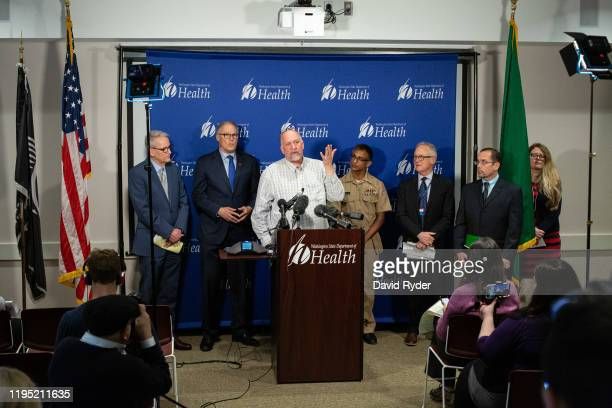 Dr Scott Lindquist Washington state epidemiologist for communicable disease speaks during a press conference about the first confirmed US case of a...