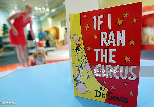 Dr Seuss book is seen as children play during a press preview of an interactive exhibition dedicated to Dr Seuss at the Children's Museum of...