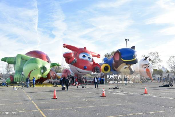 Dr Seuss' The Grinch Jett from Super Wings Paw Patrol and Olaf from Disney's Frozen debut as giant balloons during Macy's Balloonfest ahead of the...