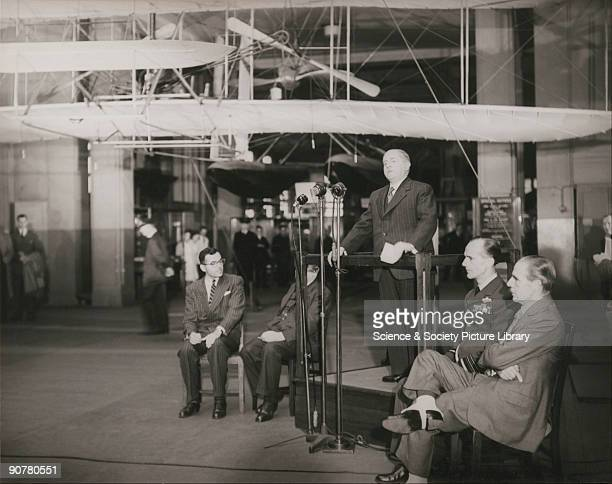 Dr Shaw Director of the Science Museum London speaking during the ceremony held to mark the return of the Wright Flyer to America in November 1948...