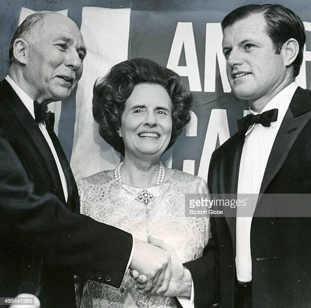 Dr Sidney Fraber Mary Lasker and Ted Kennedy Sept 19 1969