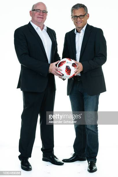 Dr Siegfried Dietrich and Juergen Ruppel pose during the 1 FFC Frankfurt Women's team presentation on September 7 2018 in Frankfurt am Main Germany