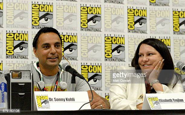 Dr Sonny Kohli and screenwriter Elizabeth Trojian speak onstage at the 'Science Smithsonian Star Trek' panel discussion at Marriott Marquis Marina on...