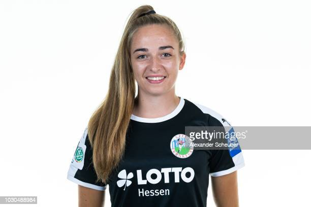 Dr Sophia Kleinherne poses during the 1 FFC Frankfurt Women's team presentation on September 7 2018 in Frankfurt am Main Germany i