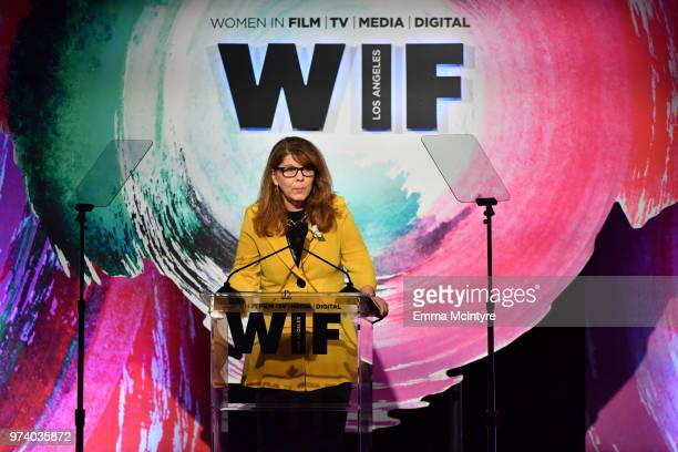 Dr Stacy L Smith speaks onstage during the Women In Film 2018 Crystal Lucy Awards presented by Max MaraLancôme and Lexus at The Beverly Hilton Hotel...